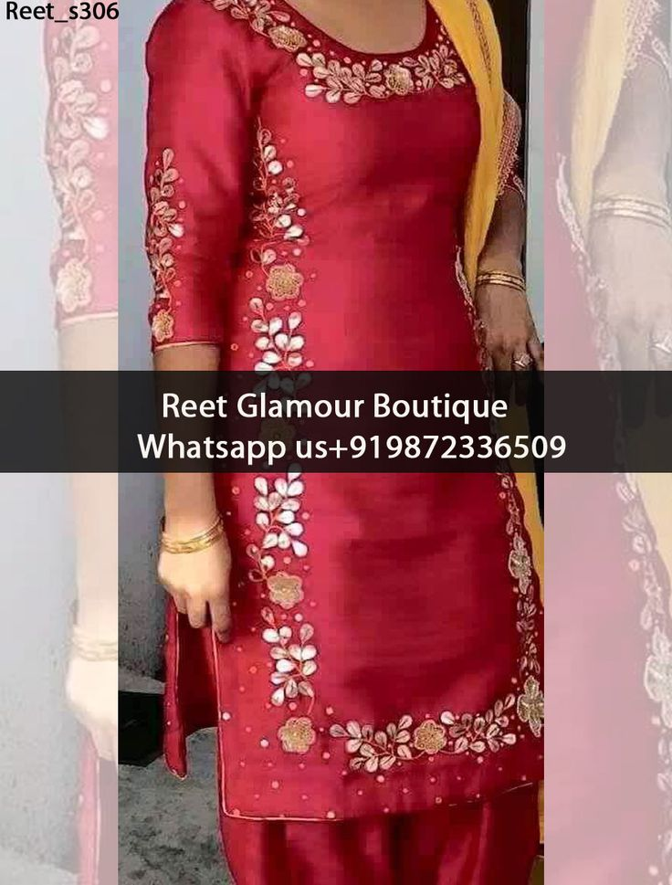 Stunning Red Embroidered Punjabi Suit Product Code : Reet_s306 To Order, Call/Whats app On +919872336509 We Offer Huge Variety Of Punjabi Suits, Anarkali Suits, Lehenga Choli, Bridal Suits,Sari, Gowns Etc .We Can Also Design Any Suit Of Your Own Design And Any Color Combination.