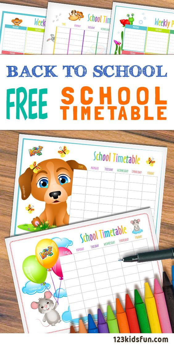 FREE School Timetable and  Weekly Planner. #schools #timetable #weekly #planner #printable #kids #backtoshool #free #123kidsfun