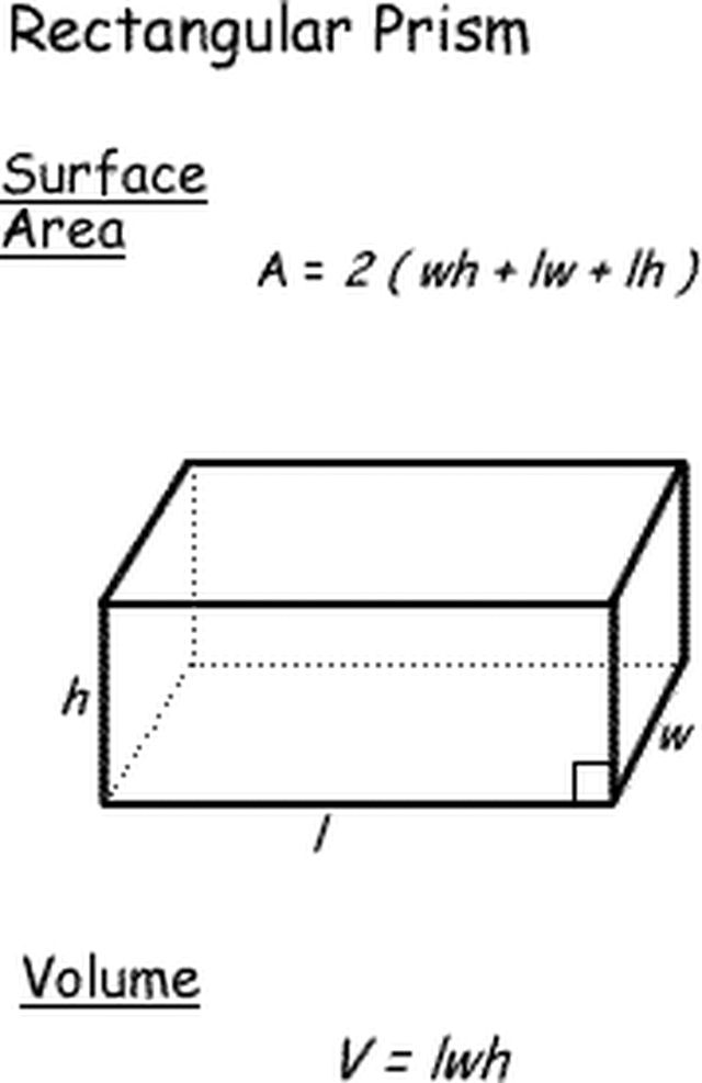 Surface Area and Volume Formulas for Geometric Shapes: Surface Area and Volume of a Rectangular Prism