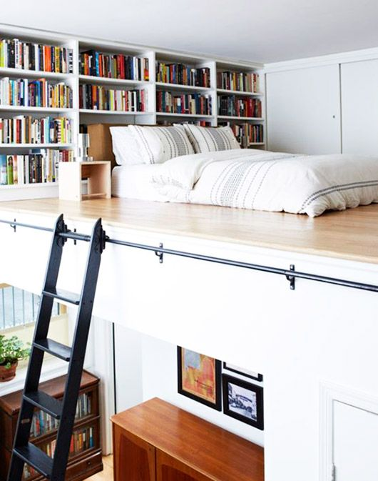 loft with built-in bookcase and black ladder / sfgirlbybay