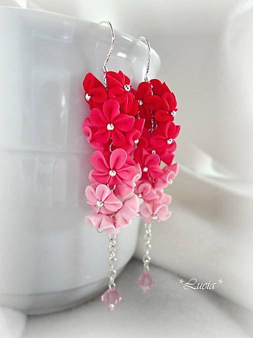 aksunan / Červeno-ružová dúha kvetinkové náušničky
