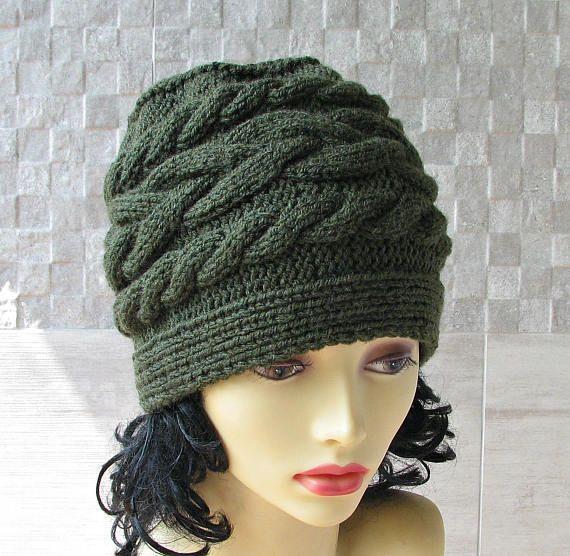 Hand Knit Slouchy Beanie Winter Hat Kniited Beanie Hat Knit