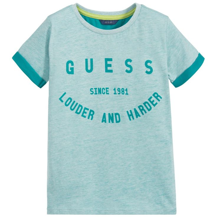 Boys Turquoise Blue Logo T-Shirt, Guess, Boy
