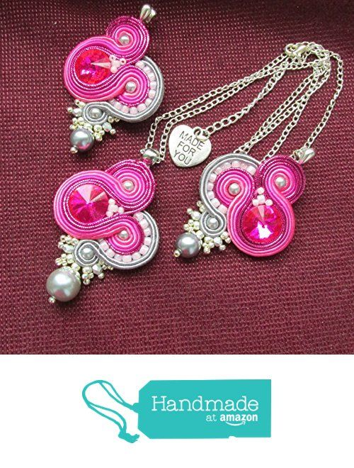 Soutache jewelry set in pink and grey, earrings & pendant
