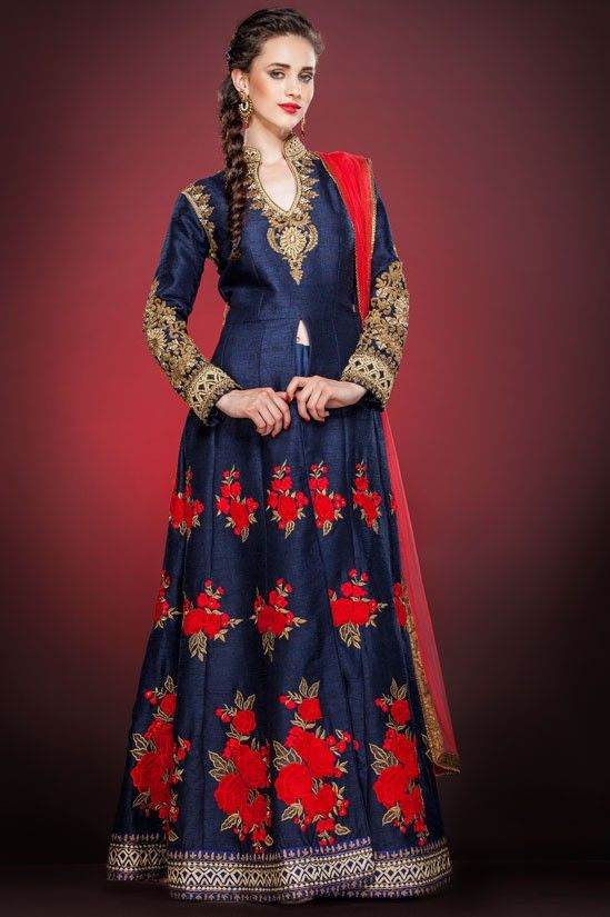 Appealing Midnight Blue #Readymade #Anarkali Suit