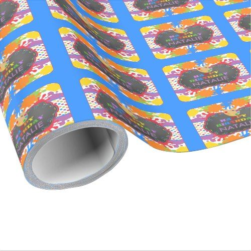 Art Paint Happy Birthday Personalized Wrapping Paper