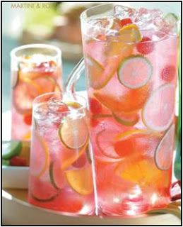 Raspberry Tequila Sangria: 2 oranges, 3 limes, 1/4 cup sugar, 6 cups ice, 10 oz frozen sweetened raspberries, 1 cup silver tequila, 1/2 cup triple sec, 1 bottle champagne, 4 cups chilled lemon lime soda. Juice one orange and two limes with the sugar in a bowl, microwave 2-3 minutes until sugar is dissolved. Thinly slice remaining orange and lime. Add everything to a pitcher (champagne last) and stir. Serves 12 | Hopeless Domestic