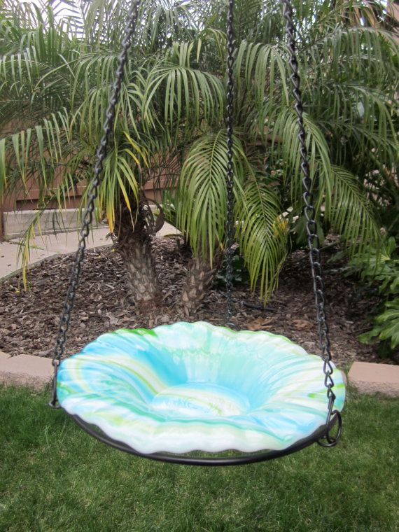 Garden Decor, Stained Glass Bird Bath, in Blue Lagoon,  8 Inches