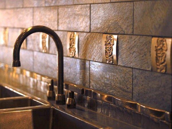 Kitchen Backsplash Tile Ideas   adds texture and design to the rectangular tile backsplash. The tile ...