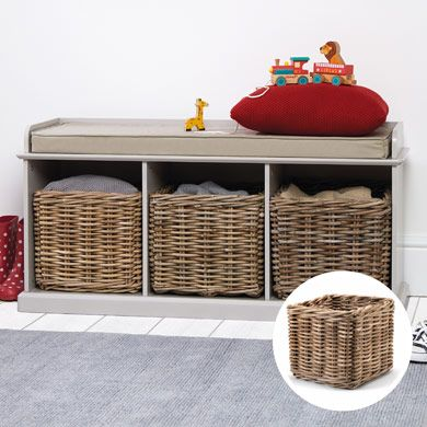 SAVE £40, Buy Stone Abbeville Bench (with Natural Cushion) & 3 Storage Baskets