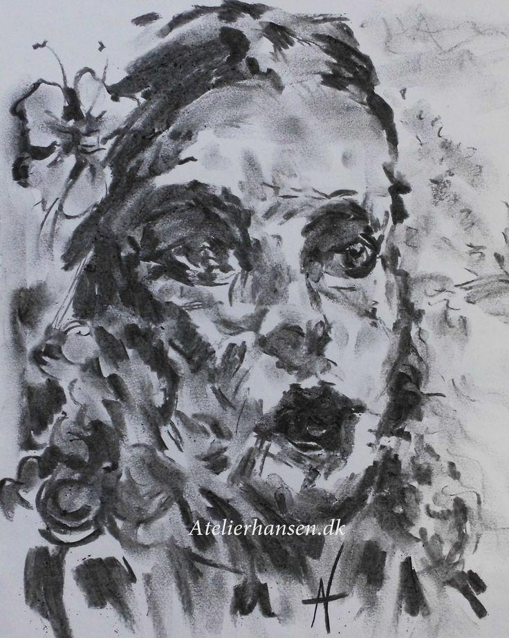 Sjælens aftryk.  soul imprint Seelenprägung. charcoal drawing from Atelierhansen.dk