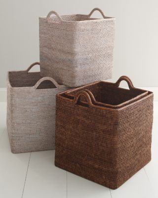 """Woven Storage Basket ($118-$148) Handwoven from rattan;   Size 1: 16 3/4""""H x 16""""W x 16""""D  Size 2: 17 1/2""""H x 18 1/4""""W x 18 1/4""""D"""