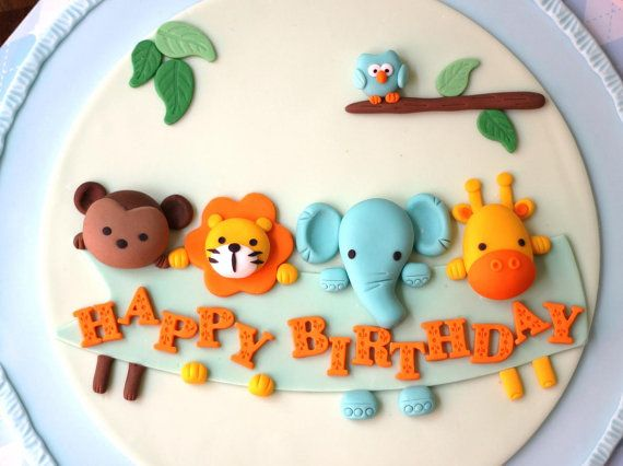 Fondant Cake Topper - Over 30 Pieces Animal Parade/Jungle Inspired Cake Kit Set - Cake Topper and Fondant Dots