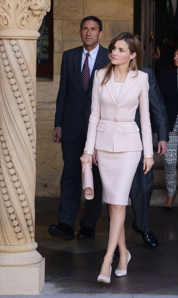 Princess Letizia  Blush Beauty Who says a power suit can't be pretty? We love this ladylike, pale pink skirt suit the