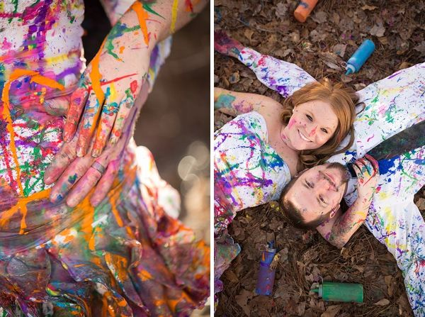 Wedding Inspiration Blog: Colorful Paint the Dress Anniversary Session after the wedding