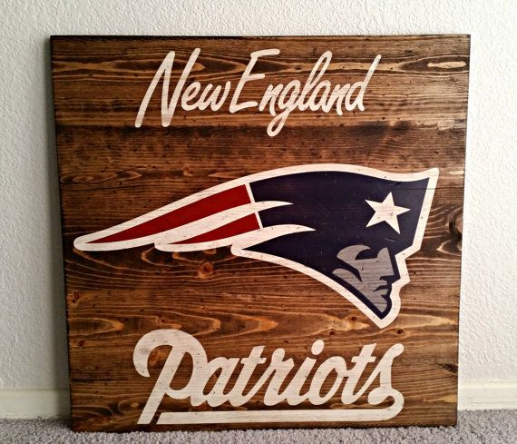 "New England Patriots NFL - Vintage, Distressed football sign 24"" x 24"""