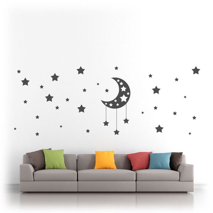 Moon & Stars - Vinyl Wall Art Sticker Decal Silhouette Kids Bedroom Nursery | Home, Furniture & DIY, Home Decor, Wall Decals & Stickers | eBay!