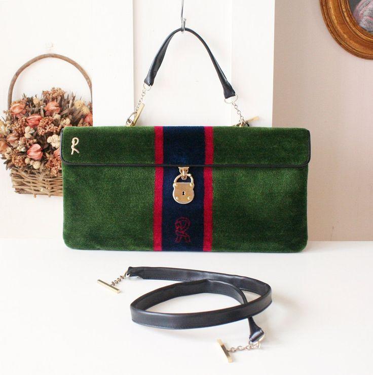 Roberta di Camerino vintage 80s green velvet leather tote shoulder bag by hfvin on Etsy  #robertadicamerino #roberta #vintage #velvet #green #tote #shoulder #bag