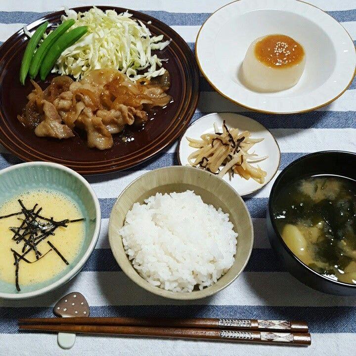 02-13 20:29 豚生姜焼き、ふろふき大根、大根の皮と塩昆布炒め、とろろ、ジャガわかめ味噌汁、白米