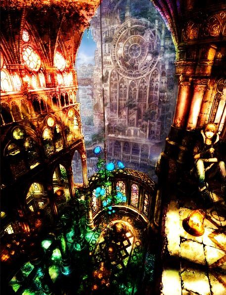 .___ORIGINAL & ENHANCED___     ____VERSIONS COMBINED____  hiding in the cathedral #anime ,landscape ,manga ,art ,fantasy ,city ,cityscape