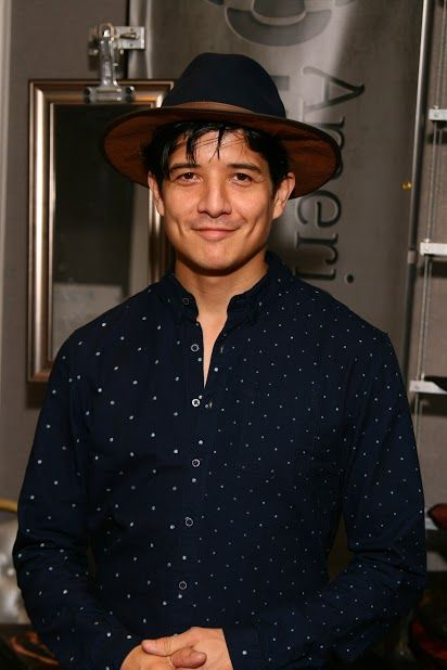 Jon Foo from CBS's New show Rush Hour wearing a navy blue wool felt pinched crown Summit with a saddle leather brim
