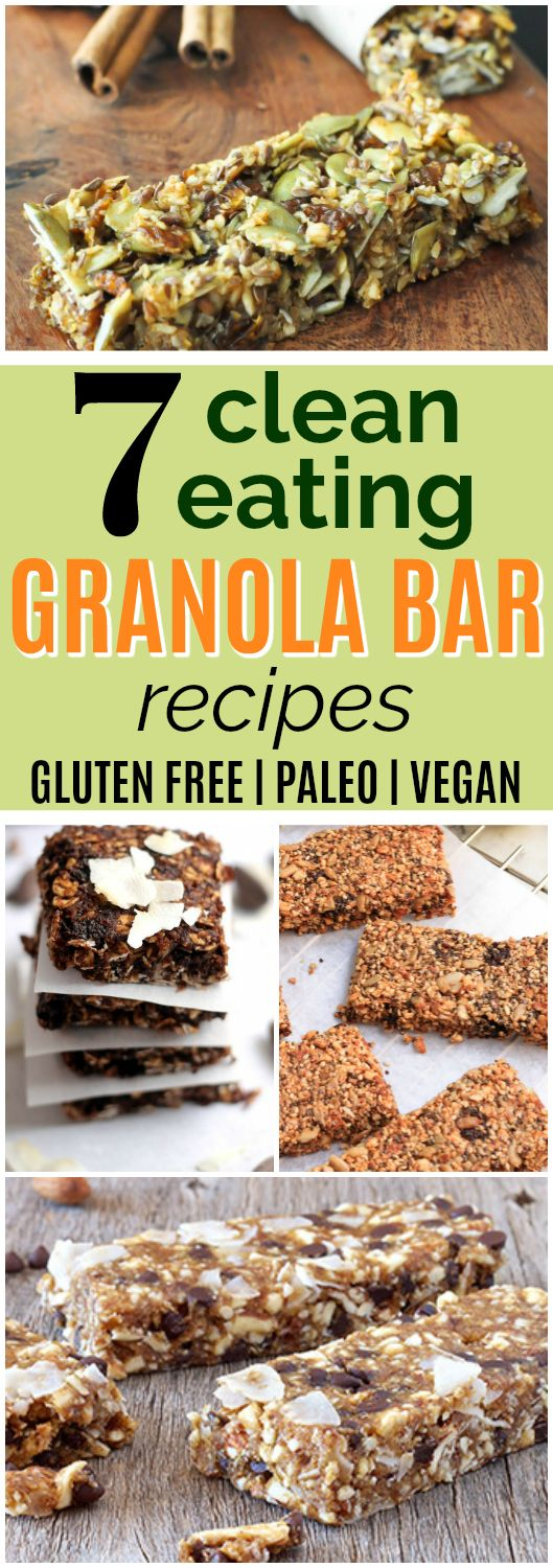 7 Healthy Homemade Granola Bar Recipes | These healthy homemade granola bar recipes look AMAZING! I love that they're all gluten-free, with paleo and vegan options as well. Plus, all these granola bars are free of refined sugar. These healthy granola bar recipes will save me money, too, since I can make them at home instead of buying pricey healthy granola bars in the store. Can't wait to try these - definitely pinning! #healthysnacks #cleaneating #glutenfree #vegan #paleo