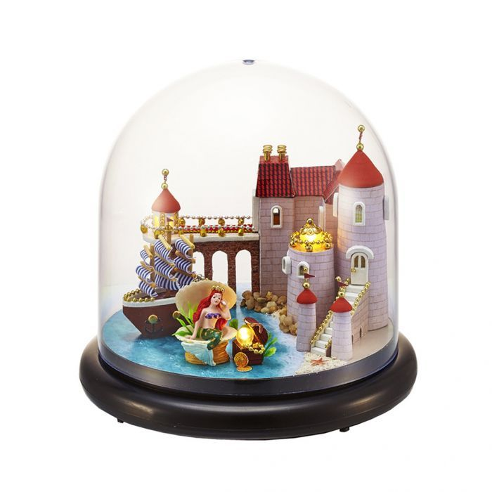 "DIY Doll houses Wood Model Kits Glass Ball LED /""mermaid castle"" Handcrafts Gift"