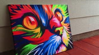 Image result for Easy Acrylic Painting Cat