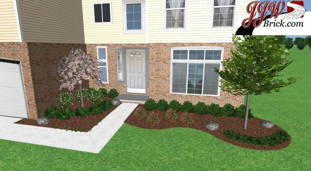 Simple low maintenance front yard landscaping for a new for Simple landscape design for front of house