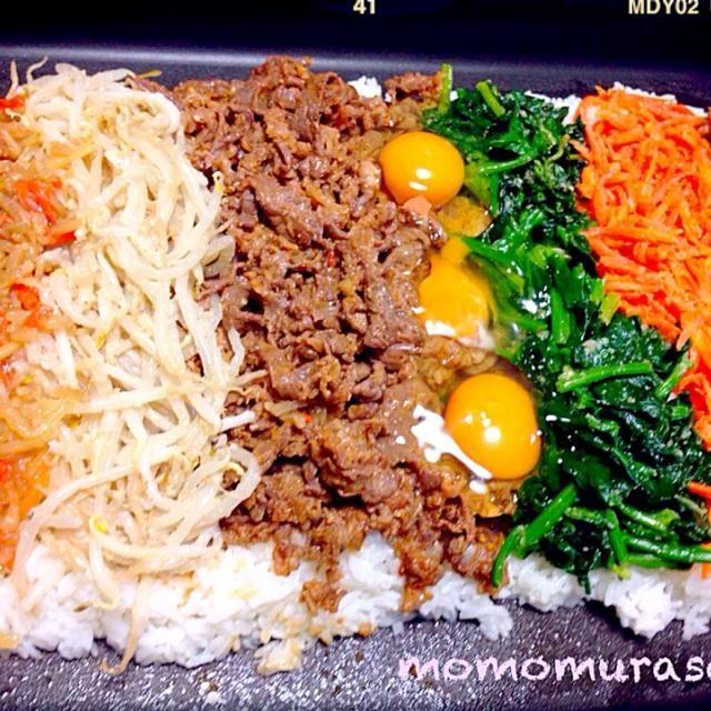 石焼ビビンバ風(≧∇≦) 食べ過ぎちゃいます(^∇^) - 226件のもぐもぐ - ホットプレートビビンバ(≧∇≦) by momomurasaki