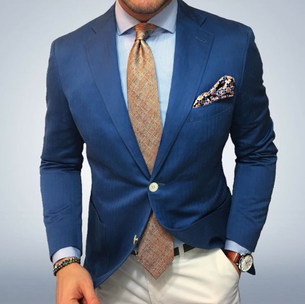 Orange glen check tie and blue blazer.