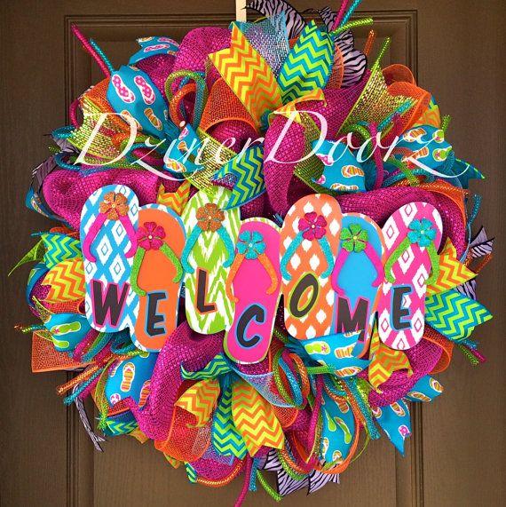 Welcome Flip Flop deco mesh Wreath