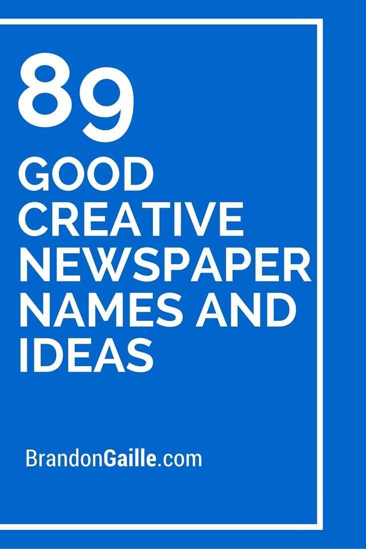 List of 89 Good Creative Newspaper Names and Ideas