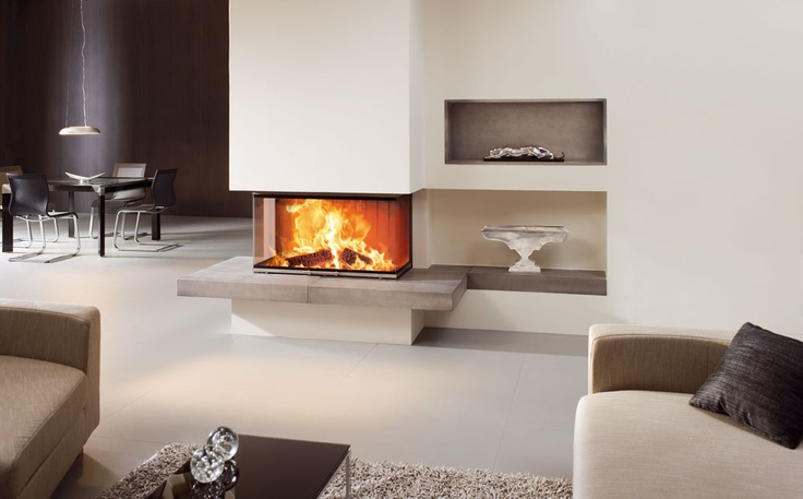 Cheminée avec insert bois 3 faces Spartherm, disponible chez Atry'Home. Fireplace with 3 sides wood insert Spartherm, available at Atry'Home.  #cheminée http://atryhome.com
