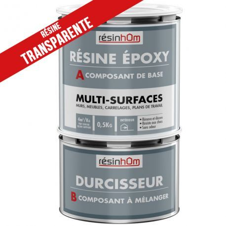Résine epoxy transparente Multi surfaces 0.5Kg