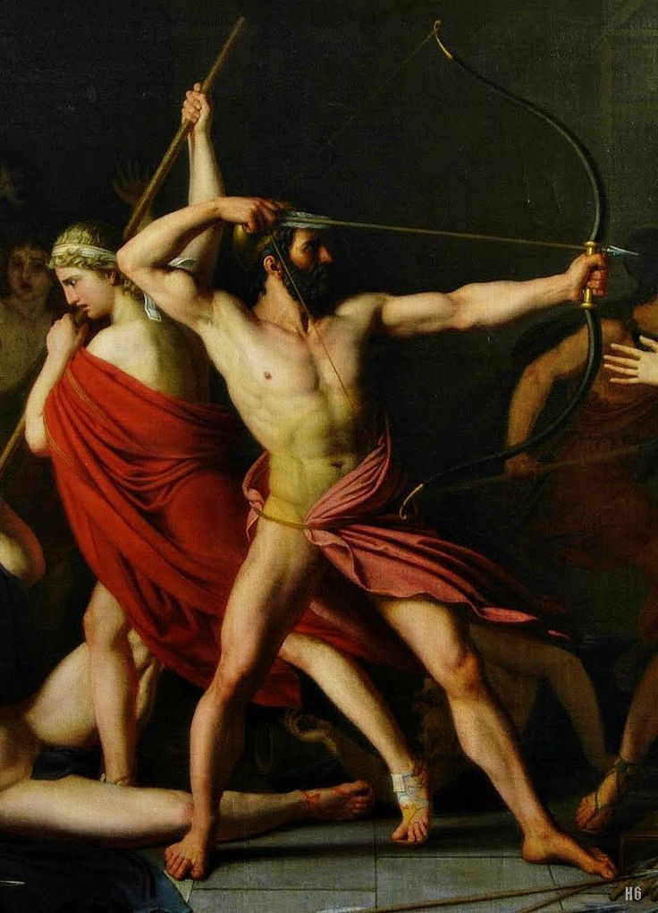 Detail: The Slaughter of the Suitors by Odysseus and Telemachus. 1812. Christophe Thomas Degeorge. French. 1786-1854. oil /canvas. http://hadrian6.tumblr.com