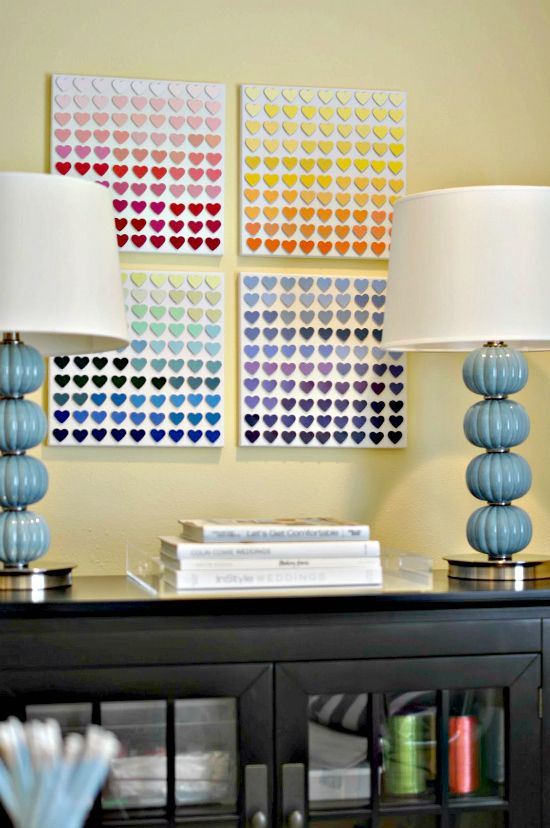 .Wall Art, Ideas, Painting Samples, Painting Swatches, Paint Chips, Heart Art, Paint Chip Art, Diy, Painting Chips Art