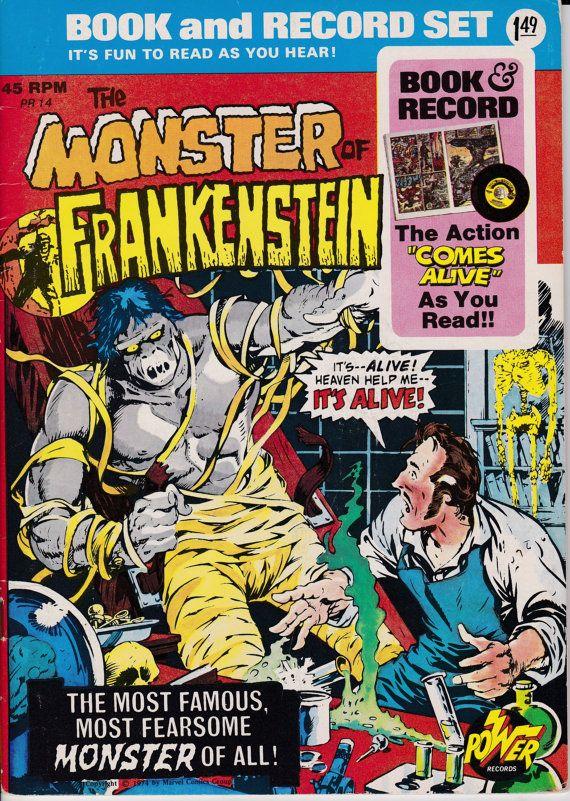 Monstruo de Frankenstein libro y registro de sistema a (Power Records) - edición de mayo de 1974 - Marvel Comics - Escrito por Gary Friedrich. Arte de Mike Ploog.