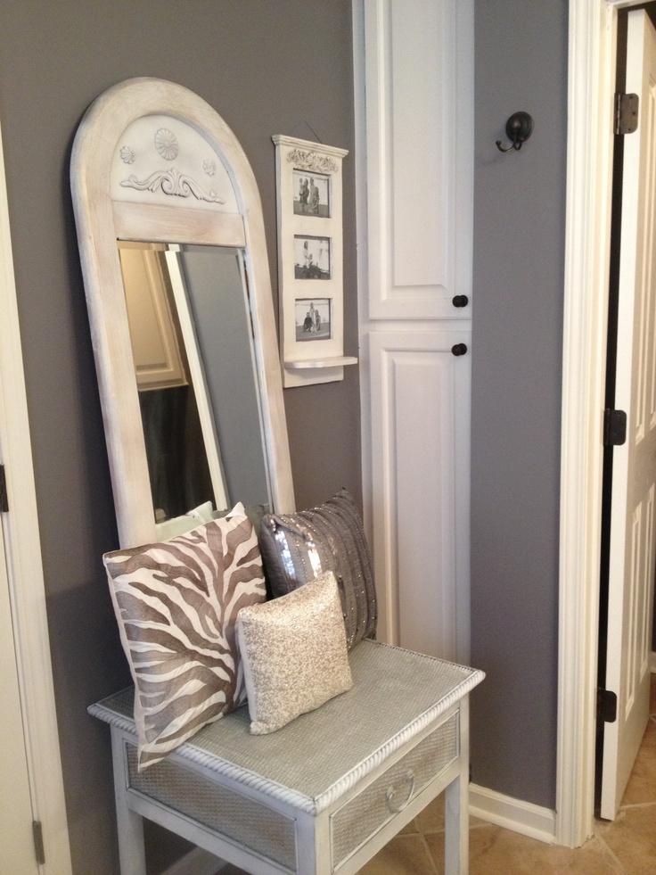 Silver, White And Gray Bathroom Decor