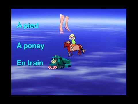 """Comment y aller?"" from Matt Maxwell's book ""Let's Sing and Learn in French""--a cute rhyming song about modes of transportation (including a flying saucer!) The simple video provides clear illustrations of the key vocabulary with onscreen lyrics."