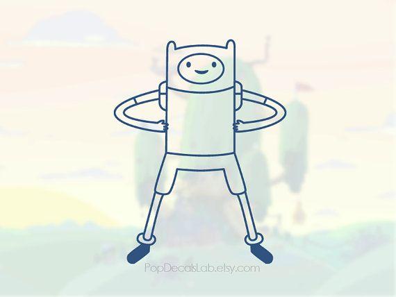 Finn the human decal - Adventure Time sticker - cartoon network games - wall car macbook decal laptop sticker - made in USA - PopDecalsLab