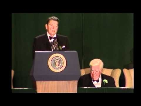 """On March 17, 1986, President Ronald Reagan spoke at a St. Patrick's Day tribute to House Speaker Tip O'Neill. This clip is one one the many treasures contained in the historic BC mobile tour. To download """"Tour of the Heights"""" visit: https://itunes.apple.com/us/app/boston-college-tour-heights/id552097348?ls=1=8"""