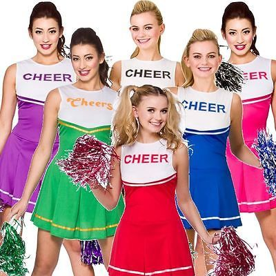 #Cheerleader #fancy dress #outfit high school musical uniform costume + pom poms, View more on the LINK: http://www.zeppy.io/product/gb/2/231581380634/