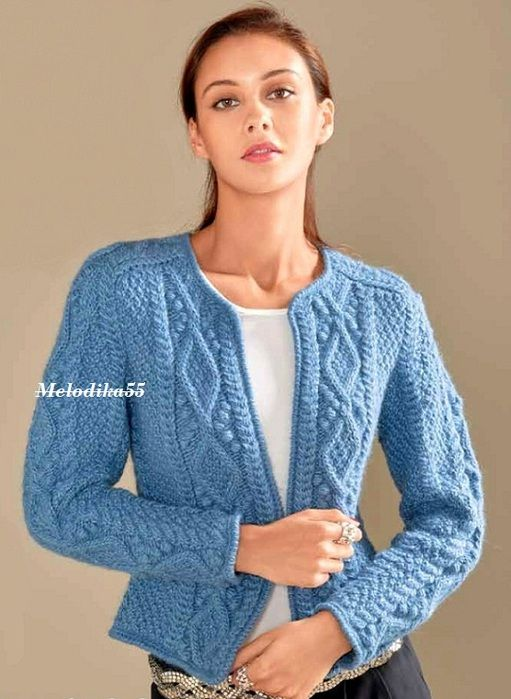 knitting aran sweater  cardigan