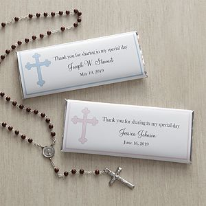 Cherish your child's big day with the Holy Cross Personalized Candy Bar Wrappers. Find the best personalized First Communion gifts at PersonalizationMall.com