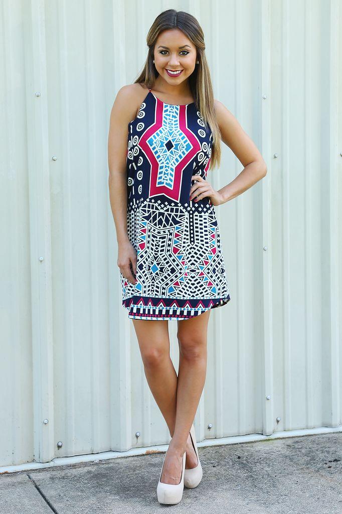 Mosaic Masterpiece Dress: Navy/Multi #shophopes