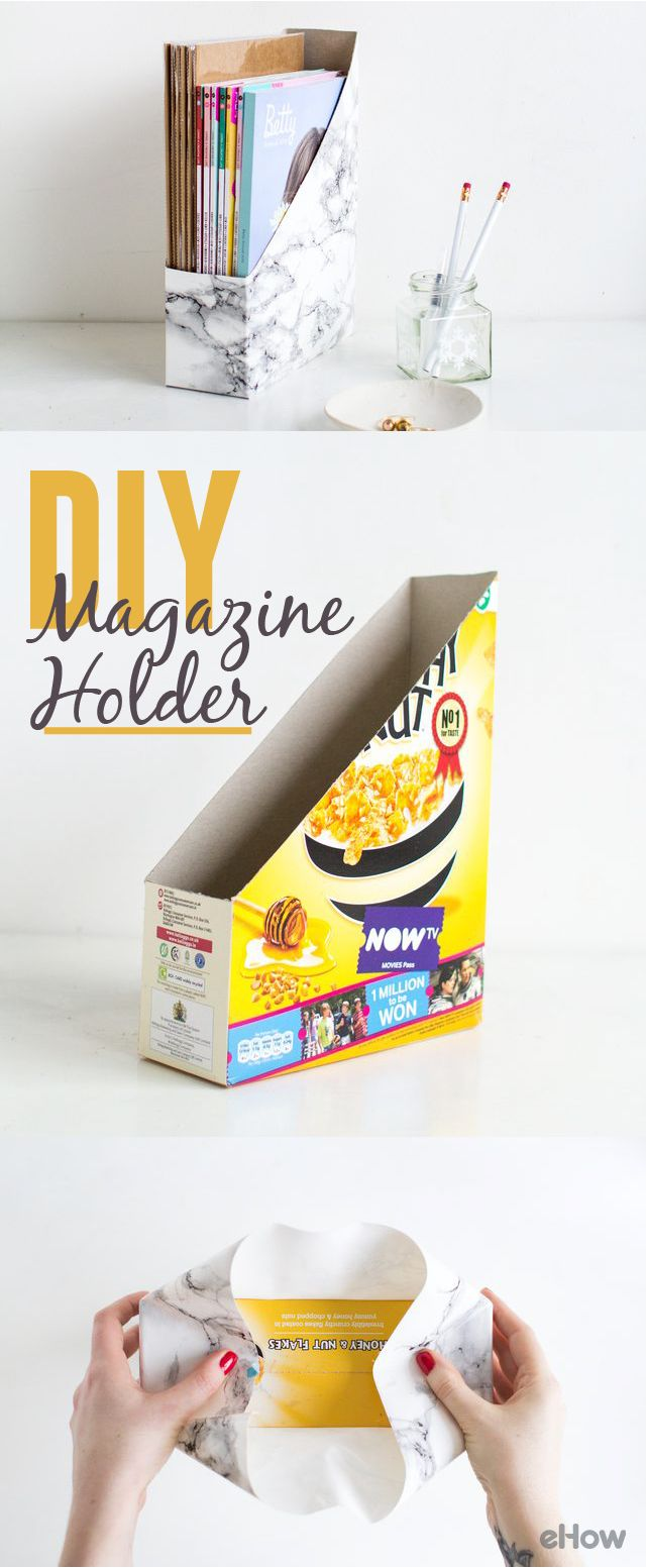 This marbled magazine folder is made from an old cereal box! The finished product looks like a super modern piece and it costs you nothing more than a box of cereal. DIY here: http://www.ehow.com/how_2293916_make-desk-magazine-holder.html?utm_source=pinterest.com&utm_medium=referral&utm_content=freestyle&utm_campaign=fanpage