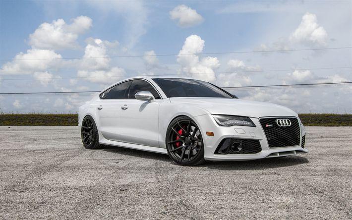 Download Hintergrundbilder Audi RS7, 2017, Exterieur, Vorderansicht, Sportlimousine, Tuning RS7, Neuwagen, schwarze Räder, VAG, Audi  – Cars Wallpape…