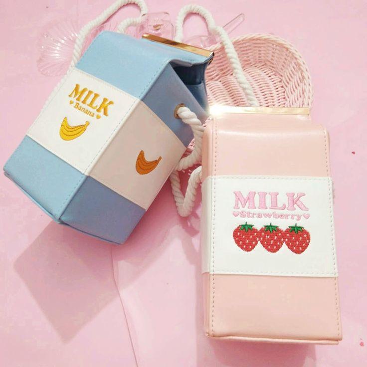 Cute Strawberry Milk Box Design Embroidery Hand Bag Shoulder Bag