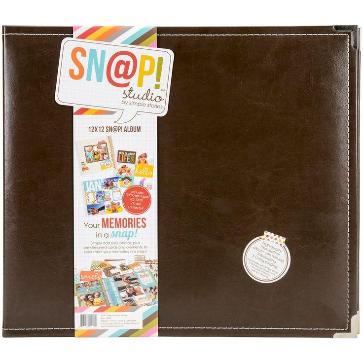 """Simple Stories Sn@p! Leather Binder 12""""X12""""-Brown - Brown"""